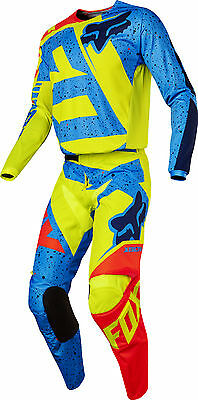 Fox Racing Youth Yellow/Blue/Red 180 Nirv Dirt Bike Jersey & Pants Kit Combo ATV
