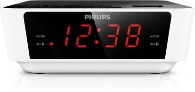 Philips FM Clock Radio With LCD Digital Display White   FAST AND FREE DELIVERY