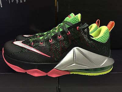 Nike Lebron XII Low Top Remix Basketball Shoes UK 9.5 EUR 44.5 Black 724557 003
