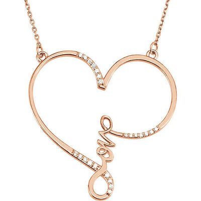 """Diamond """"Love"""" Heart Infinity-Style 18"""" Necklace In 14K Rose Gold (1/8 ct. tw.)"""