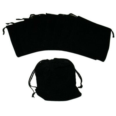 10 pcs Large Velvet Black Pouches With Drawstrings AD