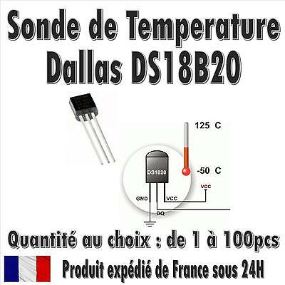Dallas DS18B20 / 1-Wire Digital Thermometer TO-92 / Quantité de 1 à 100pcs