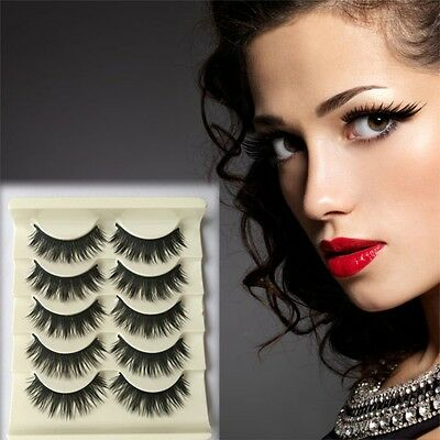 5 Pairs Makeup Soft Thick False Eyelashes Eye Lashes Long Black Nautral Handmade