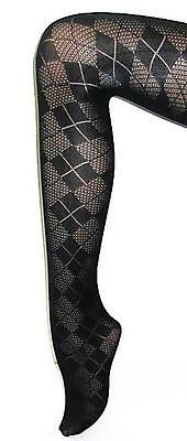 NEW BLACK TIGHTS ARGYLE TARTAN PLAID Pantyhose Quality Patterned Opaque Hosiery