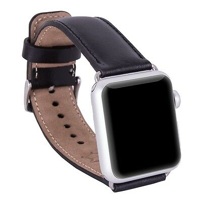 Bouletta Leather Watch Band for Apple Watch 38MM [Classic Antic Black]