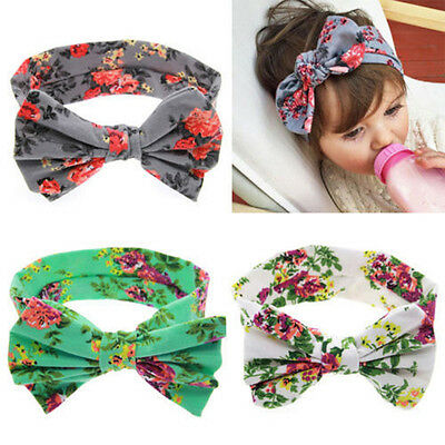 Unique Flowers Print Floral Butterfly Bow Hairband Turban Knot Headband For Baby
