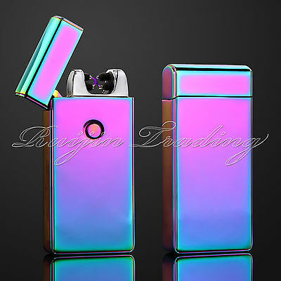 Electric Plasma Double Arc Lighter Windproof Flameless USB Rechargeable Rainbow