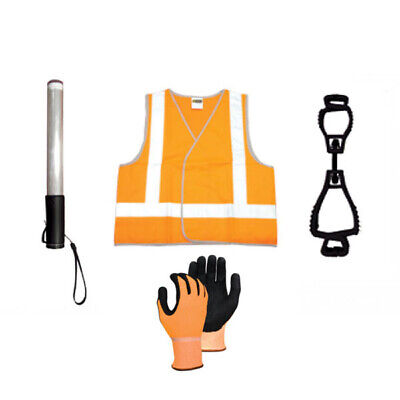 Traffic Safety Kit - Gloves - Hi Vis Vest - Glove Clip - LED Baton