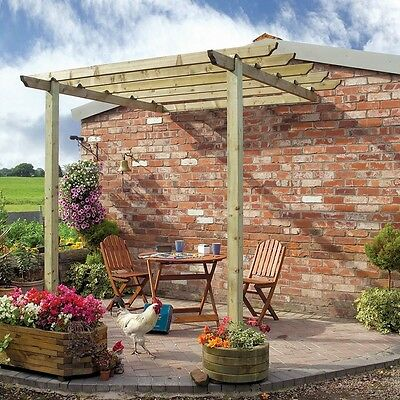 Wooden Patio Pergola With Posts FSC Wood Large Outdoor Traditional Shade Garden