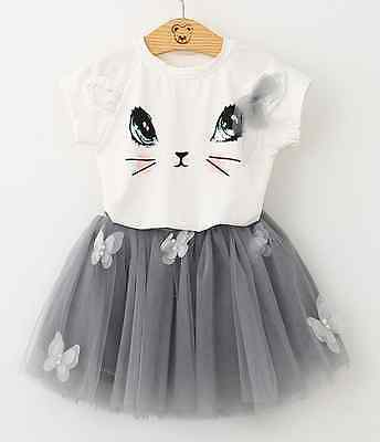 Cat Toddler Kid Baby Girl Outfit Clothes T-shirt Tops+Tutu Skirt 2PC Dress Set
