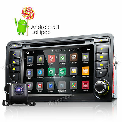 """7"""" A Android Car CD DVD Player Quad Core GPS Radio Stereo for Audi A3 S3 +Camera"""