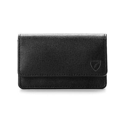 Aspinal of London Business and Credit Card Case. Black Saffiano. DH Embossed.