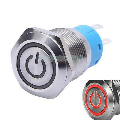 19mm 12V Red LED Momentary Push Button Switch 1NO1NC Stainless Steel Waterproof