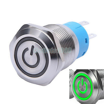 19mm Green LED Momentary Push Button Switch 1NO1NC Stainless Steel Waterproof