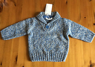 Pumpkin Patch Baby Boy's Crossover Jumper, Blue, Age 0-3 mths, BNWT