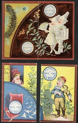CLARK'S MILE END Spool Cotton Thread - 2 Calendar Trade Cards from 1883 Pierrot