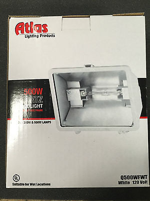 Atlas 500W Quartz Floodlight Q500Wfwt White Free Us Shipping!!