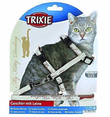 Trixie My Kitty Darling Cat Lead Harness Set, Nylon, 27-44cm CHEST 1.20 MTE LEAD • EUR 9,86