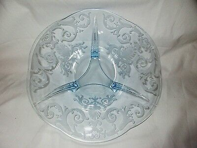 "Fostoria Azure Blue Versailles Etch 12"" Footed Bowl"