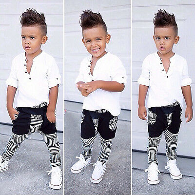 2pcs Toddler Kids Baby Boy T-shirt Tops+Pants Casual Outfits Clothing Sport Sets