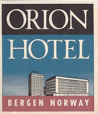 Norway Bergen Orion Hotel Vintage Luggage Label lbl0940