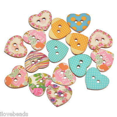 50x Mixed Color Heart Wooden Button 2-Holes Scrapbooking Crafts 21x24mm