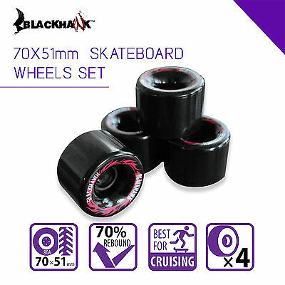 Blackhawk 70x51 mm Longboard Cruiser Skateboard wheels Set of 4 Urethane 80A