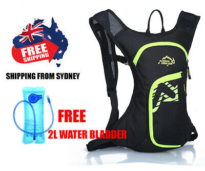 Hydration Water Bag Rucksack Cycling Hiking Camping Pack Backpack 2L Bladder