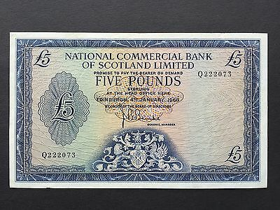 Scotland 5 Five Pounds P275 National Commercial Bank Q222073 Dated 1968 VF+/aVF