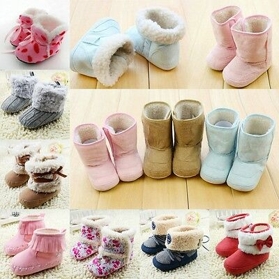 Newborn Baby Snow Boots Infant Toddler Boy Girl Crib Shoes Prewalker Size 0-18M
