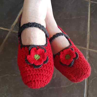 Handmade Crocheted Mary Jane Slippers
