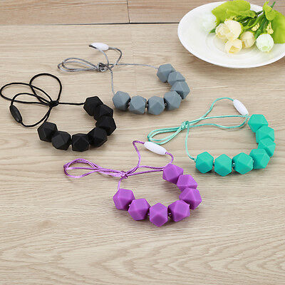 Silicone Teething Nursing Breastfeeding Necklace Chew Chewable Jewelry Beads AC5