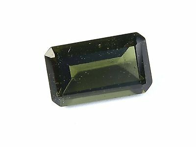 5.73cts rectangle 9x15mm moldavite faceted cutted gem BRUS1479