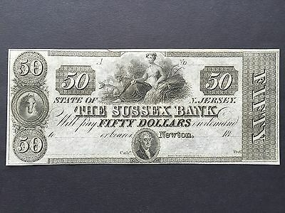 United States America USA 50 Dollars Remainder Sussex Bank New Jersey 18xx UNC