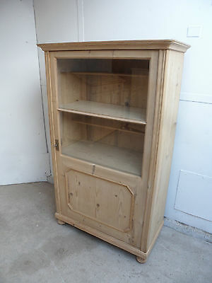 A Fabulous Late Victorian Antique Pine Glazed 1 Door Display Cabinet/Dresser