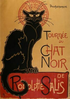 Vintage French 1896 Le Chat Noir Black Cat Advertisement Poster Art Print A3 A4