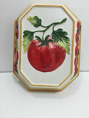 Tomatoes Wall Plaque Hanging Italy 3D Kitchen Ceramic Home Decor Handpainted