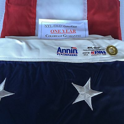 6x10 FT Annin US American Flag Nyl-Glo Nylon Embroidered Stars & 1 Yr Warranty