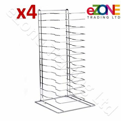 4x Pizza Pan Rack 15-Slot Shelf for Stacking Thin Pans Trays Screen Separator