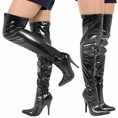Shelby Womens Thigh High Over Knee Zip Up High Stilettos Heels Ladies Shoes Size