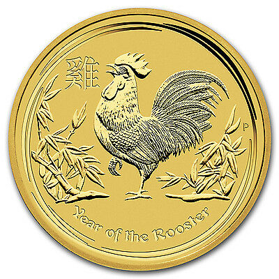 2017 2 oz Gold Lunar Year of the Rooster BU