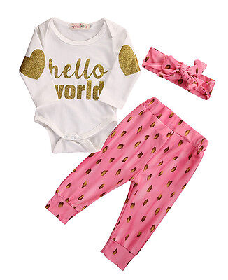 Newborn Baby Girl Clothes Hello World Romper+Pink Pants Headband 3pcs Outfit Set