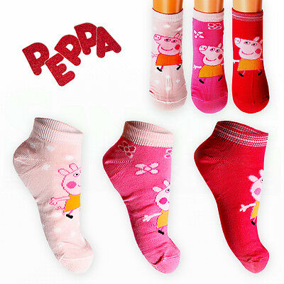 PEPPA PIG Character Kids Girls 3 Pairs Ankle Trainer SOCKS Cotton-Rich Age 2-9