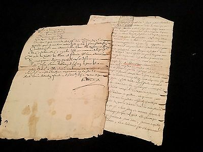 Lot Of Two Old Documents 1711