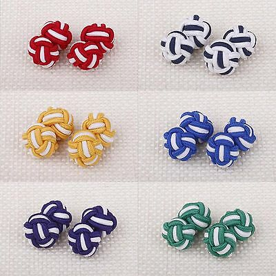 Classic Men's Round Colored Rope Hand Knotted Cufflinks Wedding Accessory