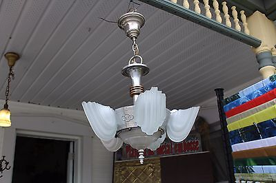 Antique Art Deco Slip Shade Ceiling Light Fixture Chandelier   6 Shades Chrome