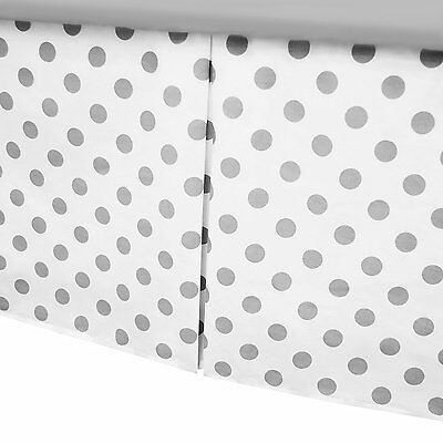 American Baby Company Tailored Crib Skirt with Pleat, White with Gray dot 170