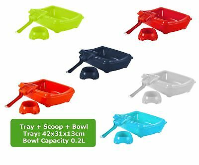 Cat Medium Litter Tray With Rim + Bowl + Scoop Open Plastic Box Toilet
