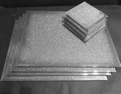 New SILVER sparkle mirrored glass place mat and coaster set GLITTER BLING