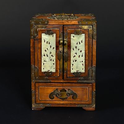 """Vintage Chinese Rosewood Jewelry Box with Brass & Jade Accents 8.25"""" T x 7.25"""" W"""